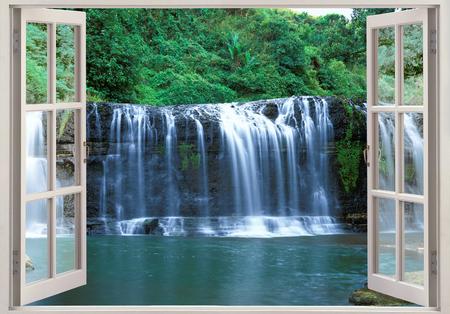 Open window view to Tolofofo falls paradise, Guam, Micronesia