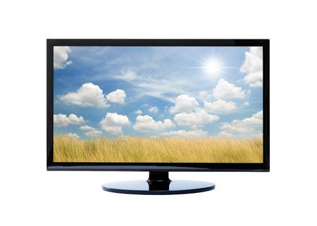 viendo television: La televisión y la naturaleza en el fondo blanco Foto de archivo