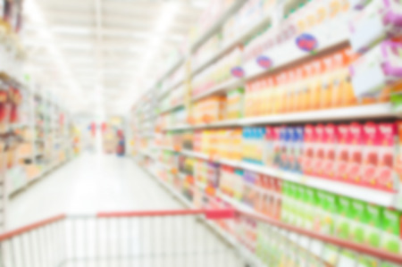 supermarket shopping: Supermarket blur background , Miscellaneous Product shelf Stock Photo
