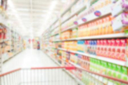 the shelf: Supermarket blur background , Miscellaneous Product shelf Stock Photo