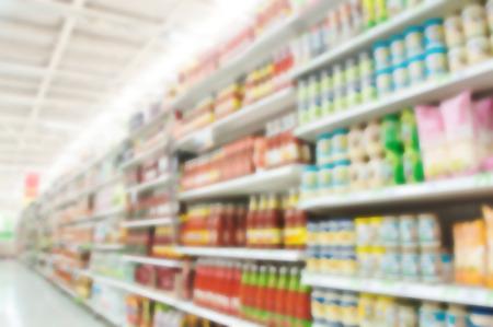 store shelf: Supermarket blur background , Miscellaneous Product shelf Stock Photo