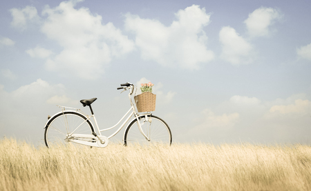 spaciousness: bicycle on road and blue sky Stock Photo