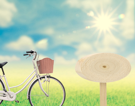 spaciousness: Bicycle on nature and wood sign for text