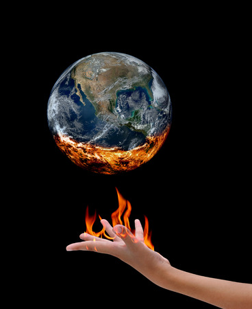 Fire on hand and earth , Elements of image are furnished by NASA