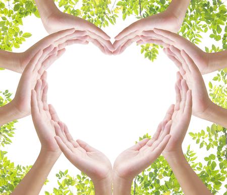 Hand heart shape on white backgrround