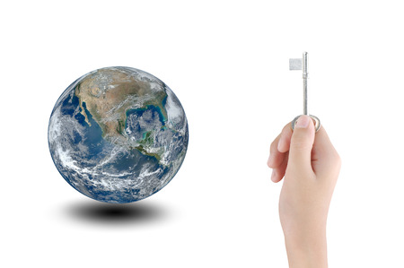 save the sea: Hand holding key and earth , concept design , Elements of image are furnished by NASA