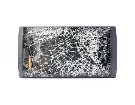 portable failure: Black mobile broken screen on white background