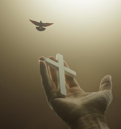 Hand holding  white cross in dark light and bird on sky Standard-Bild