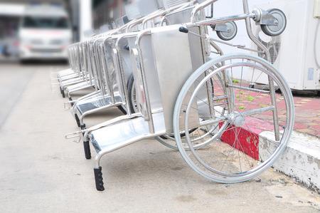 wheel chair: wheel chair on street in hospital