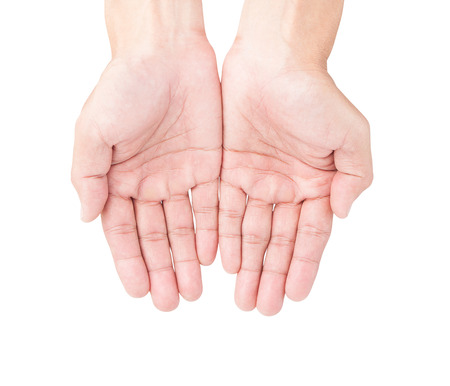 Man hands on white background with clipping path