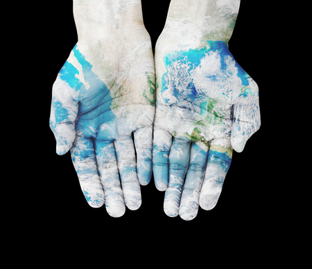 earth hands: Man hands on earth , with clipping path