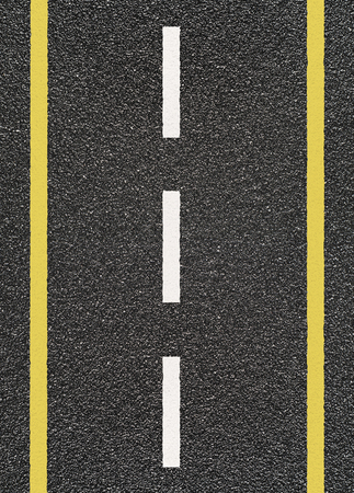 Road asphalt with  yellow and dashed white stripe