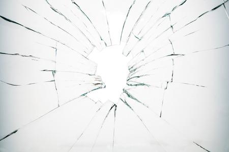 sabotage: Broken glass on white background