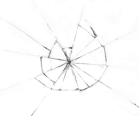 Broken glass on white background