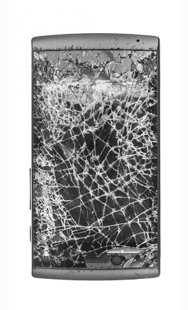 portable failure: Black mobile broken  cracked smashed screen on white background Stock Photo
