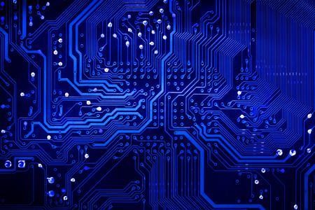 tecnología informatica: Close up gráfico de la computadora placa de circuito impreso de la placa de circuito de la tecnología de arte azul resumen de antecedentes en la vista superior Foto de archivo