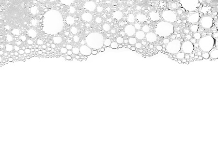 Foam bubble from soap or shampoo washing isolated on white background top view Foto de archivo
