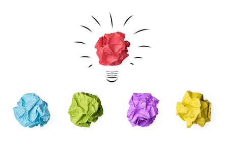 white achievement: Colorful paper crumpled lightbulb and red bulb standing out of the crowd  isolated on white background  idea business innovate achievement concept