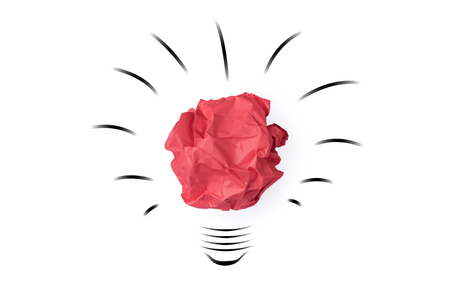white achievement: Red paper crumpled lightbulb shape isolated on white background  idea business innovate achievement concept Stock Photo