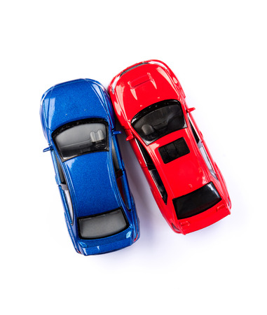 Auto car motor sport red and blue color crash accident isolated on white background on top arial view Stock Photo