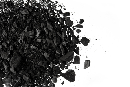 Pile of Carbon charcoal  dust on white background 스톡 콘텐츠