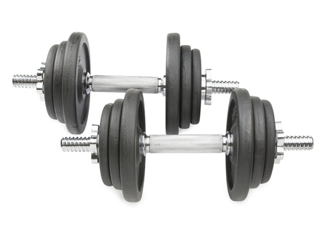 Dumbbell on white background , clipping path