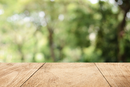 Wood floor on park and bokeh background