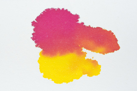 Red and yellow colorful ink water color art abstract on white paper background