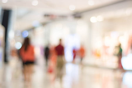 store shelf: Blurred people in shopping mall for background Stock Photo