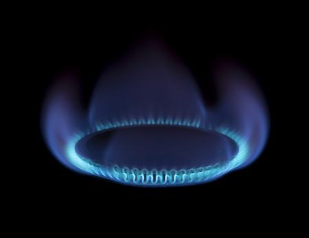 stovetop: Burning gas stove on black background