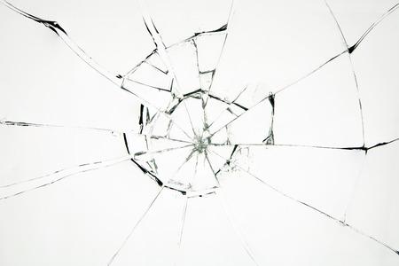 Vetro rotto su sfondo bianco Archivio Fotografico
