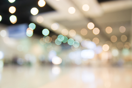 store shelf: Blurred bokeh light in hall perspective colorful defocus art abstract background Stock Photo
