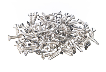 Many screws group and pile on white background
