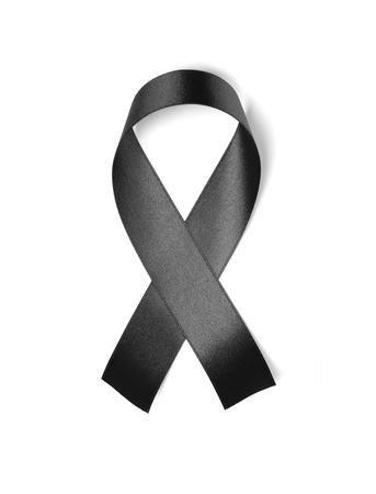 Black ribbon isolated on white background  Foto de archivo