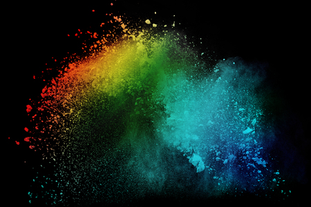 Colorful powder or dust explosion isolated on black background  freeze stop motion art abstract photo object design Foto de archivo - 112894765
