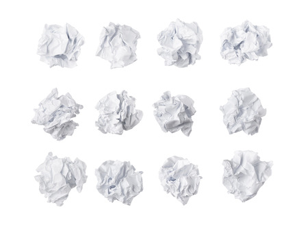 Trash ball paper crumpled isolated on white background idea business concept 免版税图像