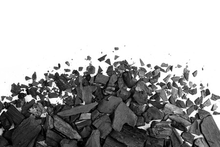 Charcoal or coal carbon texture hi resolution isolated on white background Zdjęcie Seryjne