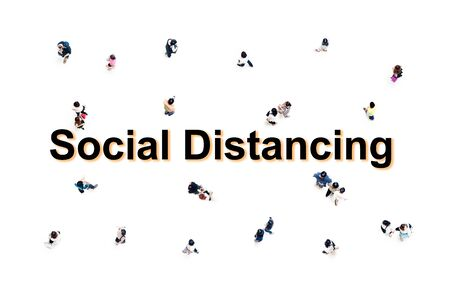 People top view on white background social distancing concept