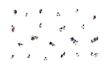 Group of people top view in focus on white background social distancing concept