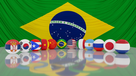 Brazil flag with volleyball WOMENâ??S TEAM .3d illustration