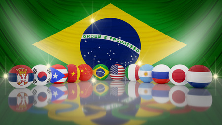 puertorico: Brazil flag with volleyball WOMEN�¢??S TEAM  .3d illustration