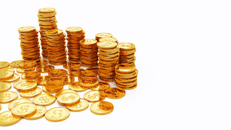 gold coins on white background ,3D illustration concept design Stock Photo