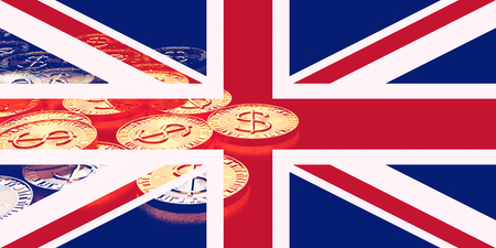 pile of gold coins with flag of the great britain (uk) ,3D illustration concept design Stock Photo