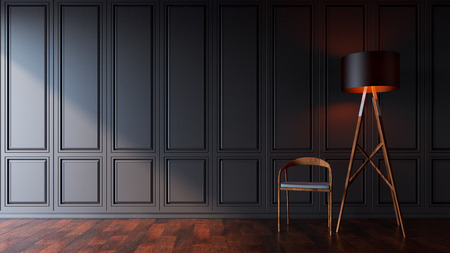 wooden floor: classic black wall and wooden floor background with black lamp and wood chair ,sunset in room ,3D illustration