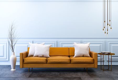 ビンテージ モダンなリビング ルーム インテリア、茶色の革のソファでの暗いコンクリートの床と古典的な水色の壁、3 d レンダリングします。