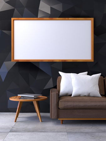 office furniture: Modern loft interior with Mock up poster  ,living room, Brown leather sofa with wood table on concrete floor and polygonal black wall ,3d render