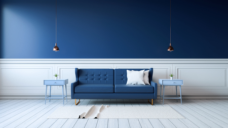 Modern interior of living room with armchairs on white flooring and dark blue wall .emptry room ,3d rendering Banco de Imagens