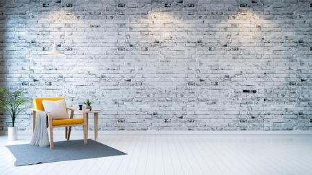 Moderne Loft Interieur Wohnzimmer Weisse Holzboden Gelbe Sessel