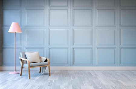 flooring: Minimalist  interior design,light green armchair with pink lamp on blue frame wall and white wood flooring , 3d render