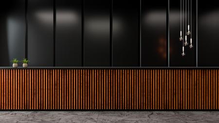 モダンなロフト リビング ルーム インテリア、暗い壁と3d バー oldwood カウンターの表示します。